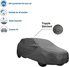 TGP Group Grey Colour Durable Water Resistant Car Body Cover with Mirror Pocket, Heavy Duty Buckle and Storage Bag for Hyundai Santro Xing