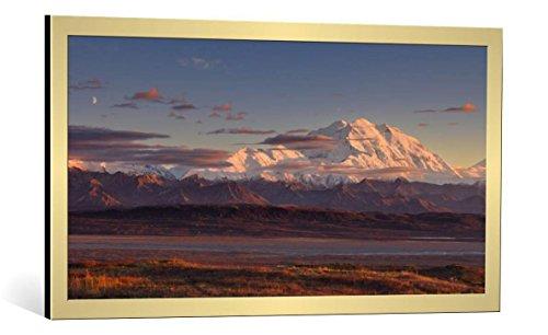 kunst für alle Bild mit Bilder-Rahmen: Roberto Marchegiani Mount Mckinley - Denali National Park - dekorativer Kunstdruck, hochwertig gerahmt, 95x50 cm, Gold gebürstet