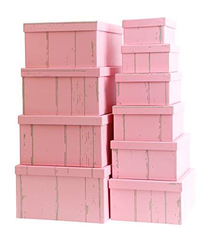 Mediablue Aufbewahrungsboxen Schachteln Geschenkbox im 10er Set mit Deckel Verschiedene Designs (Holzoptik Pink) (Große Mit Weihnachts-geschenk-boxen Deckel)