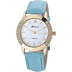 Leather Watch,Rawdah Women Diamond Analog Quartz Wrist Watches Sky Blue