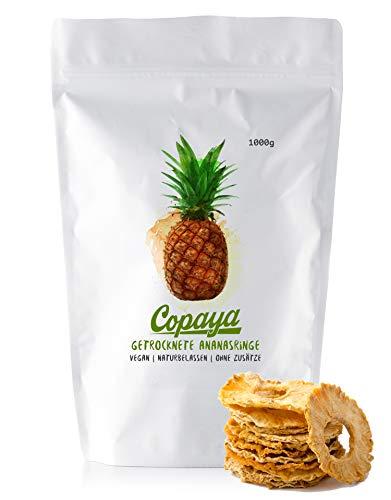 Ananas getrocknet 1000g aus Costa Rica, Ganze Ananasringe ohne Zusätze, Ungezuckert & Ungeschwefelt, 100% Pur | 1KG