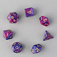 7pcs Dual-Color Dices D4 D6 D8 D10 D12 D20 Multi Sided Game Role Playing Multi-faceted Colored Dices Functional Unique Dice purple&blue
