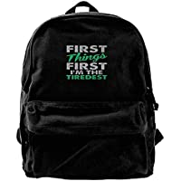 Sunkot Sac à Dos en Toile avec bandoulière First Things First I m The  Tiredest 37059c028b1