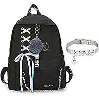 GOTH Perhk BTS Bangtan Boys Love Yourself Answer BTS Rucksack für Frauen Mädchen Canvas Rucksack für Laptop Wandern mit einem BTS-Armband