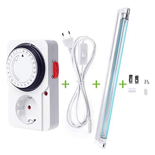 UV Ozon Desinfektion Lampe - 220 V 8 W Sterilisator Licht mit Plug-in mechanischer Timer, Ultraviolettes Licht keimtötende Lampen Kit - für Schuhschränke, Luftreiniger, Desinfektionsbakterien - Desinfektion Licht
