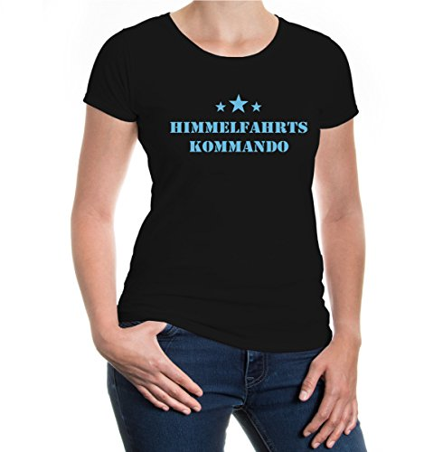 buXsbaum® Girlie T-Shirt Himmelfahrtskommando Black-Skyblue