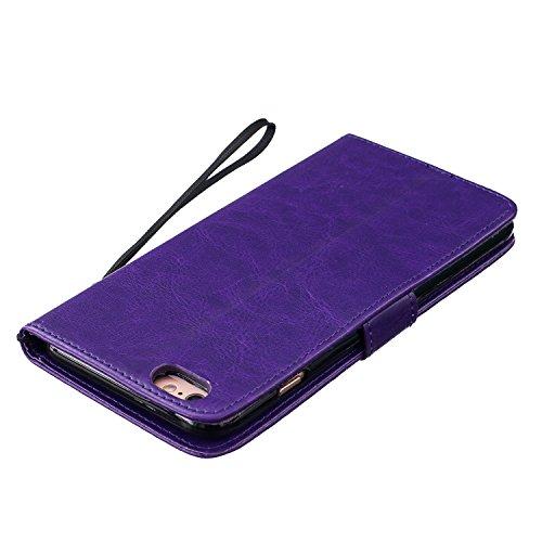 Cozy Hut Lover Dandelion Pattern Gemalt PU Leder Wallet Case Folio Schutzhülle für iPhone 6 Plus / 6S Plus (5,5 Zoll),Smartphone Handytasche Etui Schale Handy Tasche Flip Cover in PU mit Standfunktion lila