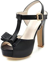 Easemax Damen Fashionable Peep-Toe Offene Fersen Blockabsatz Reißverschluss Schnürsenkel Sandalen Schwarz 36 EU