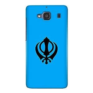 CrazyInk Premium 3D Back Cover for Xiaomi Redmi 2 Prime - Sikh Symbol Blue