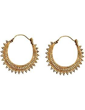 81stgeneration Frauen Messing Gold Ton Ethnische Hoop Tribal Indische Ohrringe