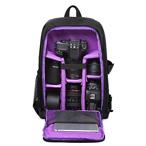 XMYL SLR Kamerarucksack im Freien Reisetasche Nylon Rucksack Kamera Fotorucksack mit Regenschutzhülle,für Canon Nikon Sony SLR Spiegelreflexkamera,Objektive und Zubehör,30 * 15.5 * 43cm,Purple