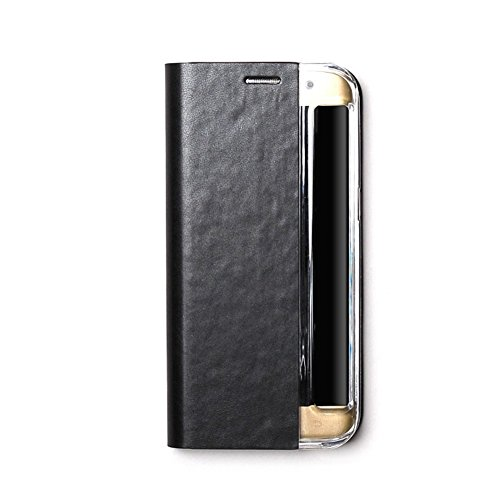 Zenus Basic Diary für Samsung Galaxy S7 Edge in schwarz [Weiches Kunstleder   Bookstyle   Ausschnitt für Schnellzugriff-Menü   Kartenfach auf Rückseite] - ZA600055