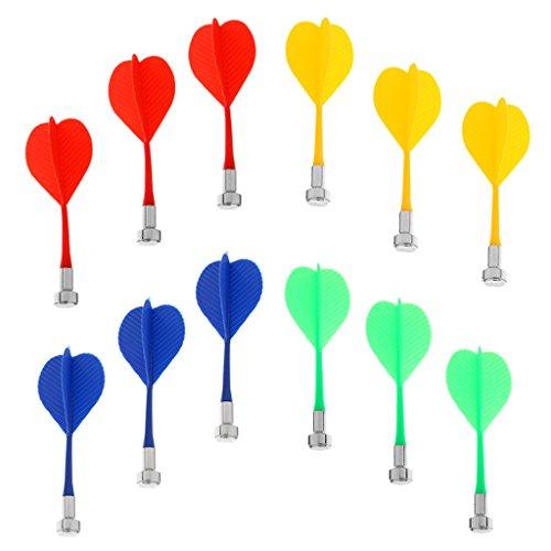Indoor-ersatz (MagiDeal 12 Stk Sicher Ersatz magnetische Dart Kunststoff Flügel Indoor Spiel Spielzeug, Mehrfarbig - Blau Gelb Rot Grün)