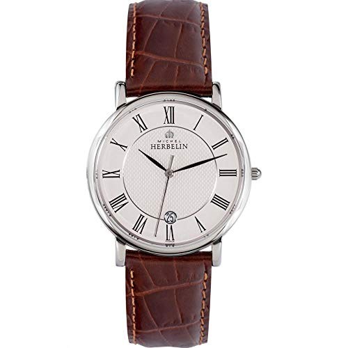 Michel Herbelin Men's Classic 38mm Brown Leather Band Quartz Watch 12248/08MA