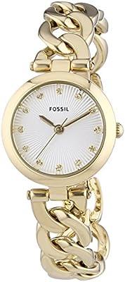 Fossil Olive ES3391 - Reloj para mujeres, correa de acero inoxidable chapado color dorado