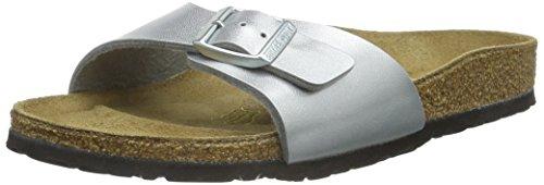 Birkenstock, madrid birko-flor, sandali, unisex - adulto, argento, 40 eu (stretta)