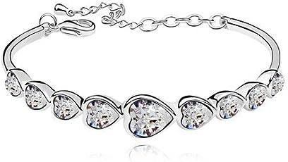 Valentine Gift by Shining Diva Silver Plated Austrian Crystal Bracelet for Women & Girls