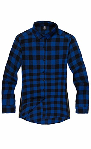 Awake Herren Flanell-Button-Down-Karo klassisch-Fit Shirts (Schlank Und Plaid Groß Robe)