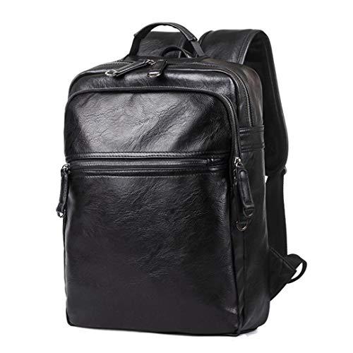 Panrezhesty Zaino in pelle da uomo Zaino da viaggio per ragazzi Zaino da viaggio per scuola Borsa da viaggio per laptop black