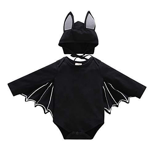 (EisEyen Halloween Bat Motiv Kinder Cosplay Kostüm Strampler Mit Handschuhe für Jungen Mädchen mit Kapuze Kinderkostüme Tanzparty)