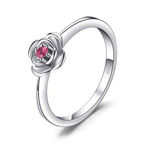 JewelryPalace Versprechen Liebe Rose-In-Bloom Runde Rot Erstellt Rubin Ring 925 Sterling Silber (In Liebe Bloom)