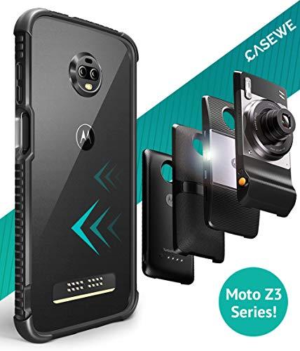 Casewe - Motorola Moto Z3/Z3 Play Protettivo Bumper Case Cover Flexible TPU/Compatibile con Tutte Le MOD Moto - Chiaro Matte Nero