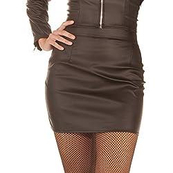 Minifalda cuero sintético Rachel mujer - negro, todas las tallas | Fetiche