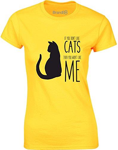 Brand88 - If You Don't Like Cats..., Gedruckt Frauen T-Shirt Gänseblümchen-Gelb/Schwarz