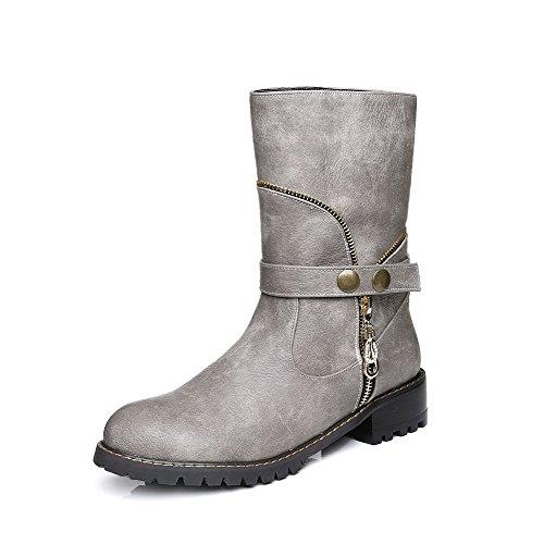 AgooLar Damen Ziehen Auf Rund Zehe Niedriger Absatz Niedrig-Spitze Stiefel mit Metallisch Grau