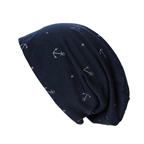 Glamexx24 Neue Kollektion Long Beanie Mütze Mit Anker Muster bequem zu tragen, 17098 Dunkelblau, Einheitsgröße