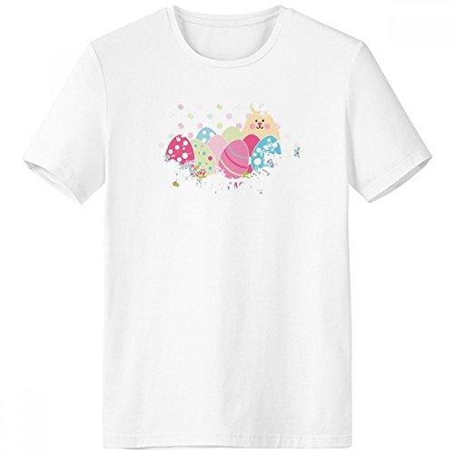 DIYthinker Frohe Ostern Religion Christentum Festival Nette Bunte Häschen gefärbtes Ei Blume Kultur Illustration Muster Pinsel Rundhals Weißes T-Shirt - Multi - Large