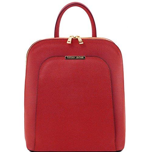 Tuscany Leather TL Bag - Zaino donna in pelle Saffiano - TL141631 (Nero) Rosso