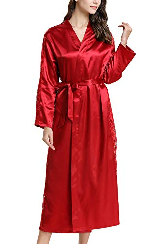 YAOMEI Damen Morgenmantel Bademäntel Satin Kimono, Lang Spitze Nachtwäsche Nachthemd Robe Kimono Negligee Schlafanzug für Spa Hotel Braut Brautjungfer, Party (Büste 108cm, 42,52 Zoll, Rot) - Braut Spa Robe