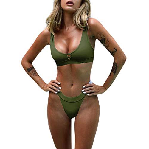 KPILP Frauen Bikini Set Bademode Push-Up Gepolsterter BH Button Schlankheits Beach Badeanzug Badetuch Mode Beachwear(Armeegrün,M)