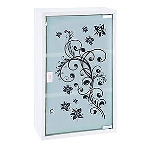 HI Medizinschrank Metall mit Glastür und Schloss (bedruckt) in Weiß – Arzneimittel Schrank zur Medikamenten Aufbewahrung, abschließbares Schränkchen, Hängeschrank mit Glastür