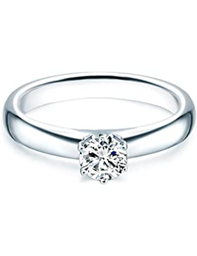 Tresor 1934 Damen-Ring / Verlobungsring / Solitärring Sterling Silber rhodiniert Zirkonia weiß 60451014