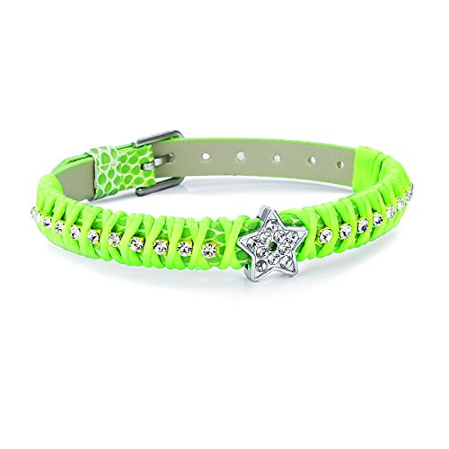 PAPAYANA A202-NG Modisches Damen Charm-Armband aus Leder Strass besetzt Kristall mit Stern Edelstahl Neongrün