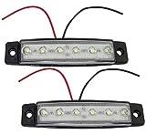Aerzetix:  2 luci di ingombro a 6 LED, 12 V, 97/21 mm, colore bianco, C41128