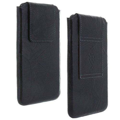 Echt Leder Gürtel universal Handytasche 4XL für Huawei Honor 5X 6X Y6-II Y7 / HTC U 11 / Lenovo P2 / LG V30 / Nokia 8 - Handy Tasche schwarz
