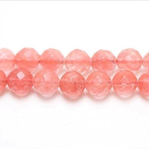 Fil De 95+ Rose Quartz Cerise 4mm Perles Rondes Facetté - (GS1650-1) - Charming Beads