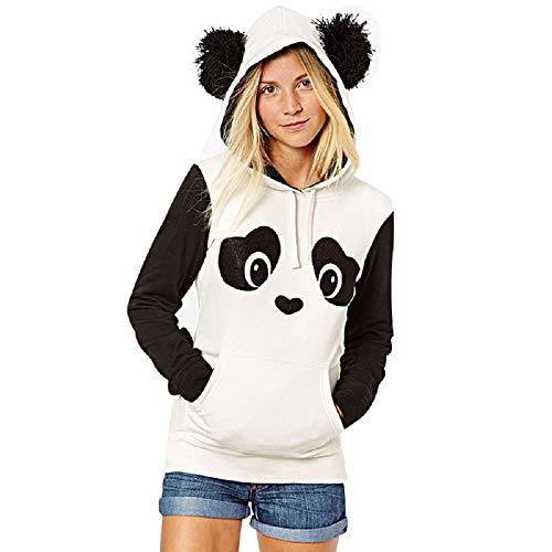 XWBO Damen Kapuzenpullover Kapuzenpulli Panda Muster Hoodie Sweatshirt Pullover Pulli Jumper Langarmshirt Mantel Tops Jacke
