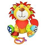 Neuesone Baby Spielzeug Kleiner Löwe,Motorikspielzeug zum Aufhängen mit Spiegel und Ringen zum Beißen, Greifen für Babys und Kleinkinder ab 0+ Monate