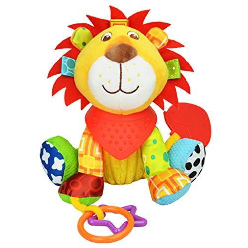 Neuesone Baby Kinderwagenspielzeug ,Motorikspielzeug Baby Spielzeug Löwe Greifling Anhänger zum Aufhängen und Ringen zum Beißen, Greifen für Babys und Kleinkinder ab 0+ Monate