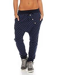 Malito Damen Jogginghose mit Knopfleiste   Sporthose mit Punkten   Baggy  zum Tanzen   Sweatpants - 8405b2b52b