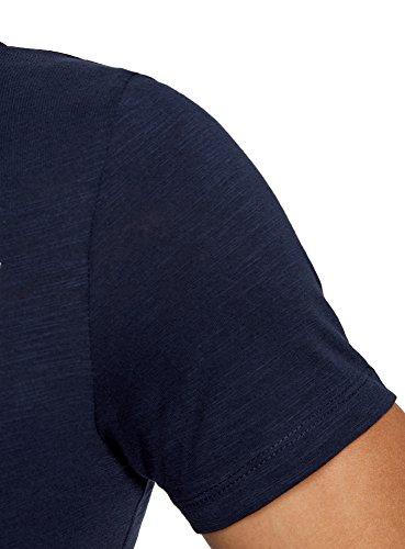oodji Ultra Herren T-Shirt mit City-Print Blau (7929P)