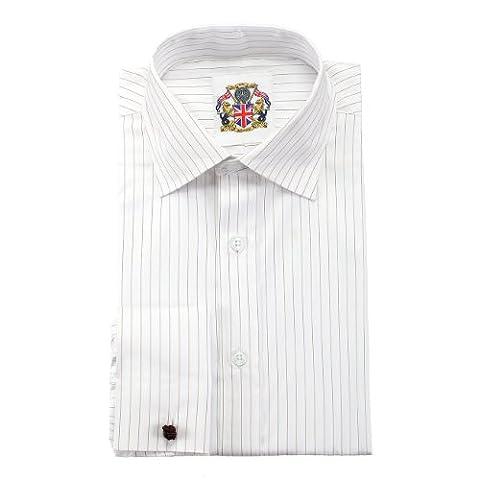 Janeo Men's Shirts Chemise à manches longues classique rayée, manchettes simples ou doubles Gris/Bleu/Marron Facile d'entretien, prix attractif et emballage écologique Rouge Mocha Stripe