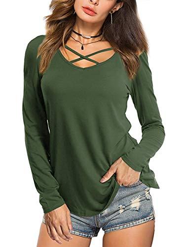 Damen Langarmshirt V-Ausschnitt Longsleeve T-Shirt Langarm Oberteil Basic Tops, B-armeegrün, XXL/DE 50-52