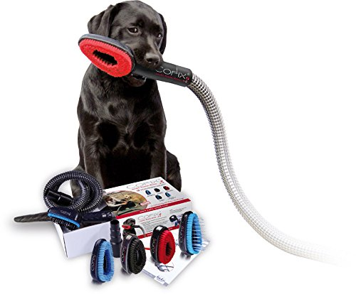 COFIX Dog Grooming Brush with Vacuum Cleaner / Hoover Adapter & Extension Pipe, Groomer Groom Tool (Kit C – SHORT hair (soft))