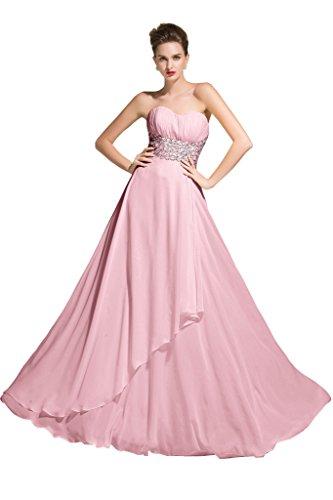 Sunvary Chiffon A linea con strass e retro aperto-per abiti da sera sera Pink