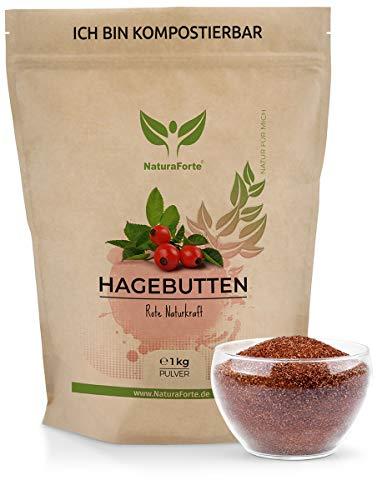 NaturaForte Hagebuttenpulver 1kg - Rohkostqualität aus kontrolliertem Anbau, Pulver aus ganzen Hagebutten gemahlen, Glutenfrei, Vegan, Ohne Zugabe von Zucker, biologisch abbaubare Verpackung
